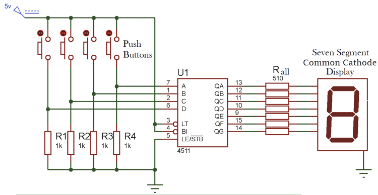 7-Segment Display Driver Circuit Diagram