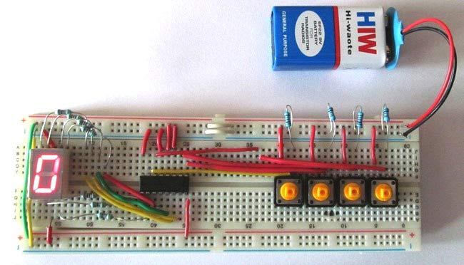 Breadboard version of 7-Segment Display Driver Circuit