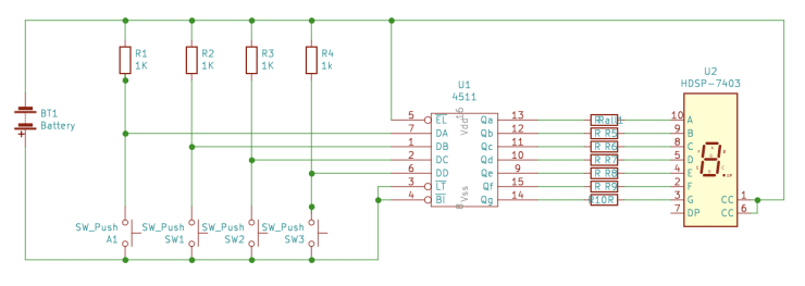 Final Layout for 7-segment Driver Circuit using KiCad